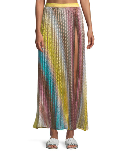 Pleated Maxi Coverup Skirt with Slit