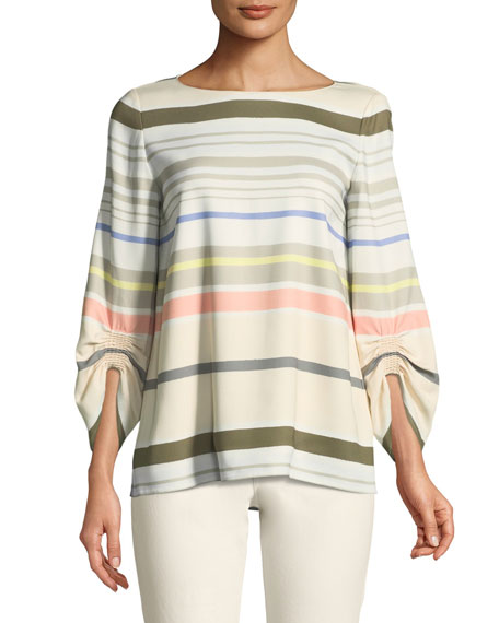 Lafayette 148 New York Elisio Mesa Stripe Ruched-Sleeve