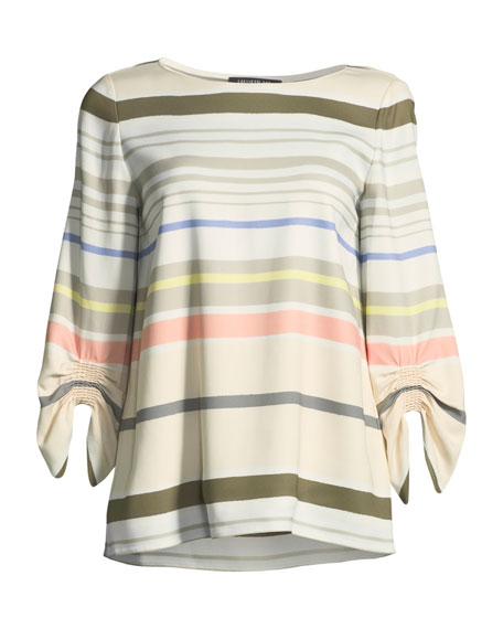 Elisio Mesa Stripe Ruched-Sleeve Blouse