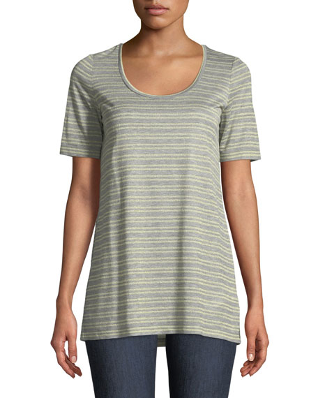 Lafayette 148 New York Kristen Metallic-Stripe Heathered T-Shirt