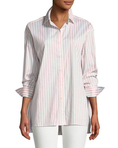 Jessie Striped Button-Front Blouse