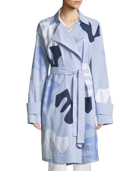 Laurita Sartorial Stripe Coat with Appliqués
