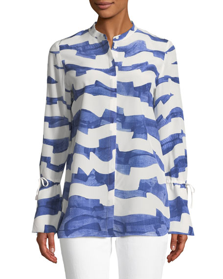 Lafayette 148 New York Desra Watercolor Waves Silk