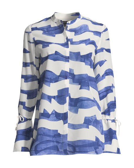 Desra Watercolor Waves Silk Blouse