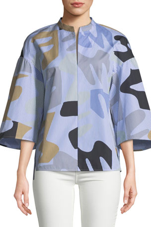Lafayette 148 New York Carla Urban Ethos on Stripe Shirting Blouse