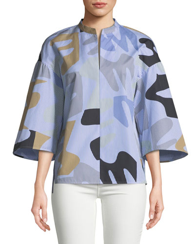 Carla Urban Ethos on Stripe Shirting Blouse