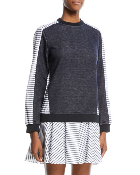 Prose & Poetry Tanner Drop-Waist Striped Sweatshirt Dress
