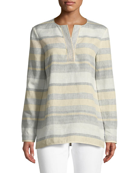 Lafayette 148 New York Joan Surrealist Linen Stripe