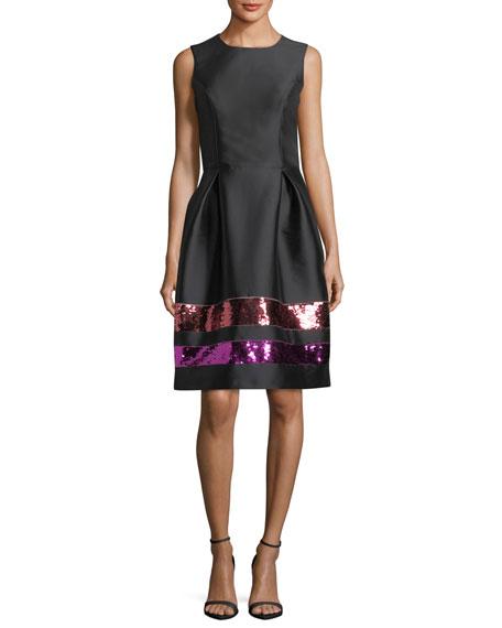 Sequin-Striped Taffeta Cocktail Dress