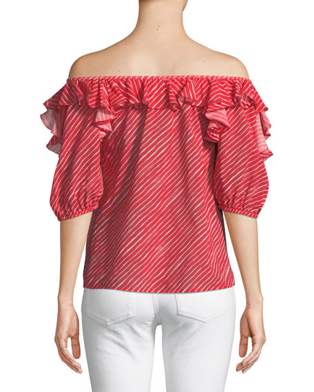 Piper Off-the-Shoulder Striped Cotton Top
