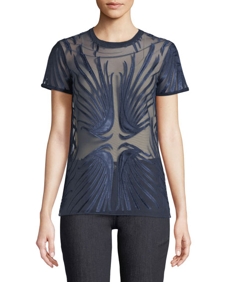 Elie Tahari Val Wing Sheer Embroidery Top