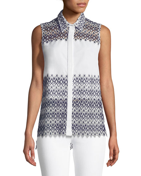 Abina Scalloped Sleeveless Blouse by Elie Tahari