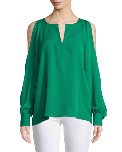 Wyatt Silk Cold-Shoulder Blouse