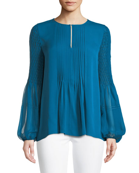 Romeo Silk Balloon-Sleeve Blouse