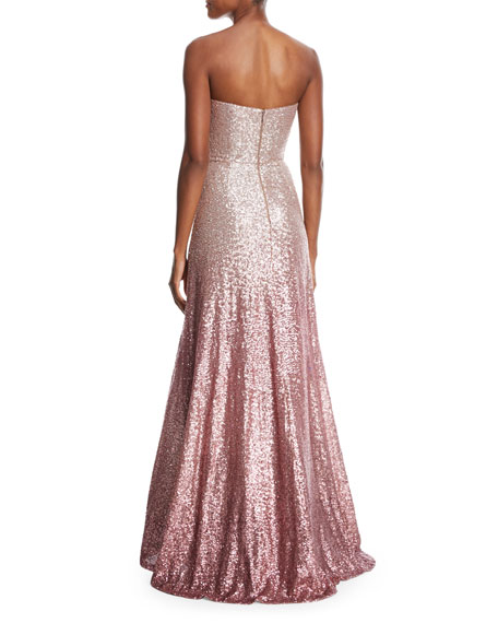 Strapless Ombré Sequin Gown w/ Beaded Bodice