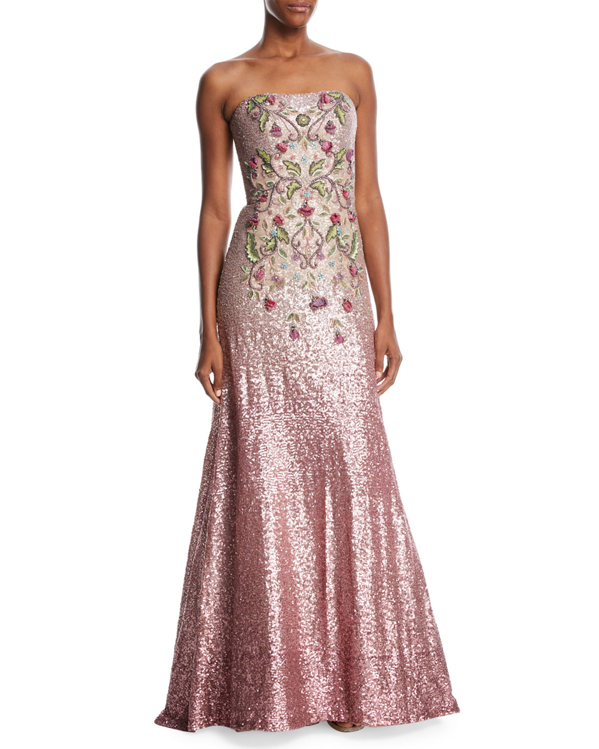 Theia Strapless Ombré Sequin Gown w/ Beaded Bodice | Neiman Marcus