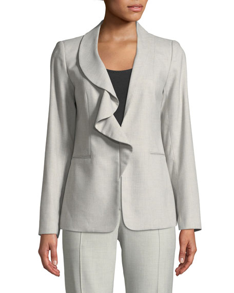 Elie Tahari Siyah Ruffle-Collar Jacket and Matching Items