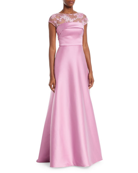 THEIA Super Stretch Threadwork Ball Gown in Orchid