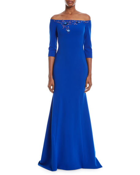 Beaded Off-the-Shoulder Trumpet Gown