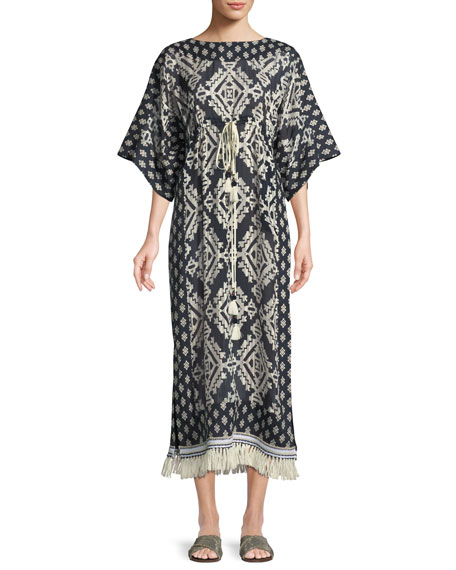 Beatrice Geometric-Print Short-Sleeve Caftan