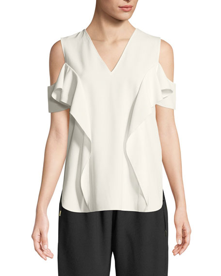 Ellen Ruffle Cold-Shoulder Blouse