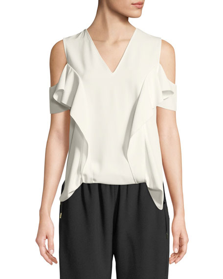 Elie Tahari Ellen Ruffle Cold-Shoulder Blouse and Matching