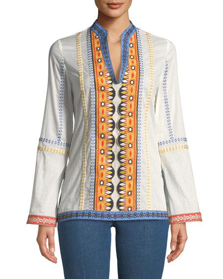 Tory Burch Stephanie Embroidered Long-Sleeve Tunic