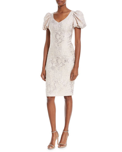V-Neck Puff-Sleeve Tissue-Weight Cocktail Dress