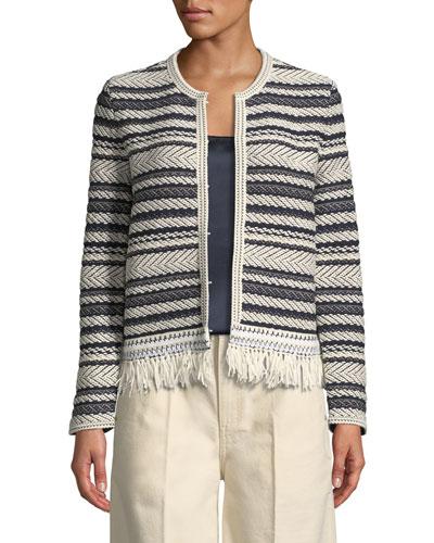 Payton Striped-Tweed Cardigan