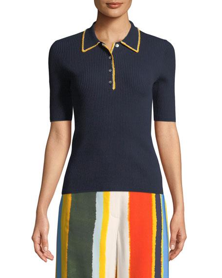 Mila Stitch-Trim Ribbed Polo Shirt