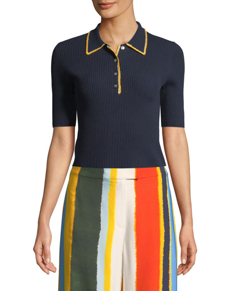 Tory Burch Mila Stitch-Trim Ribbed Polo Shirt
