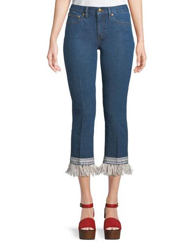 Connor Fringe-Bottom Cropped Jeans
