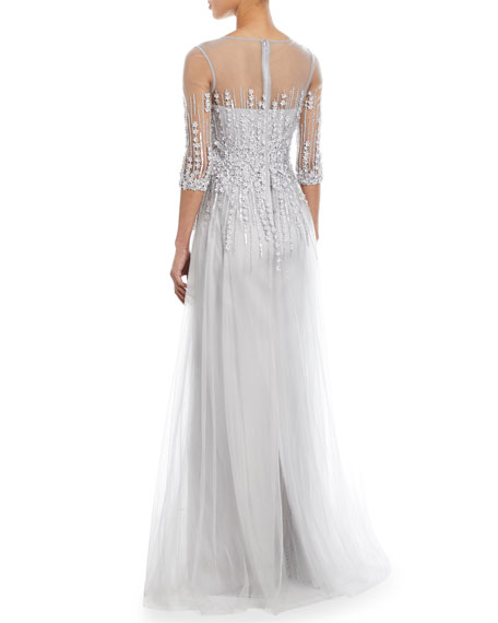 Embellished Satin Illusion Trumpet Gown