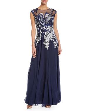 Rickie Freeman For Teri Jon Embellished Illusion On Down Gown
