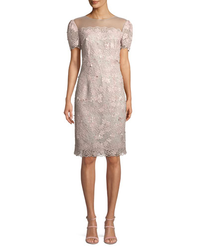 Illusion Lace Short-Sleeve Sheath Cocktail Dress