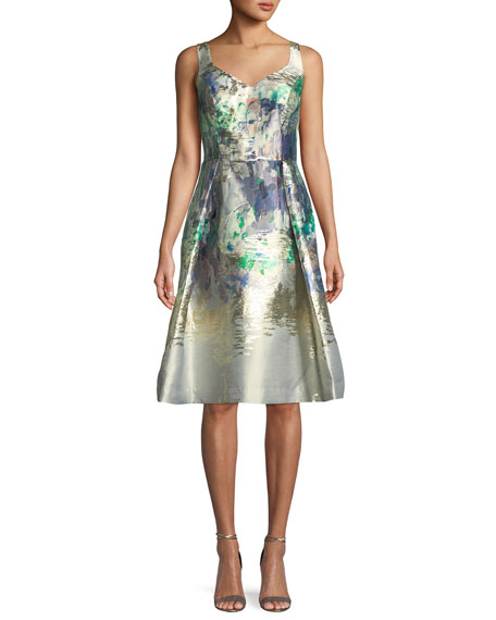 Rickie Freeman for Teri Jon Metallic Sweetheart Sleeveless