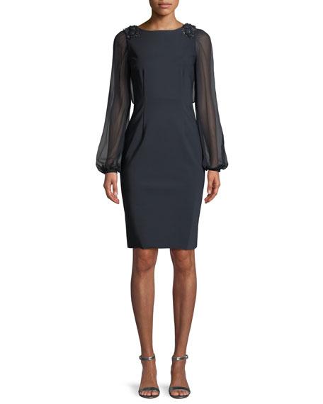 Embellished Chiffon Long-Sleeve Dress