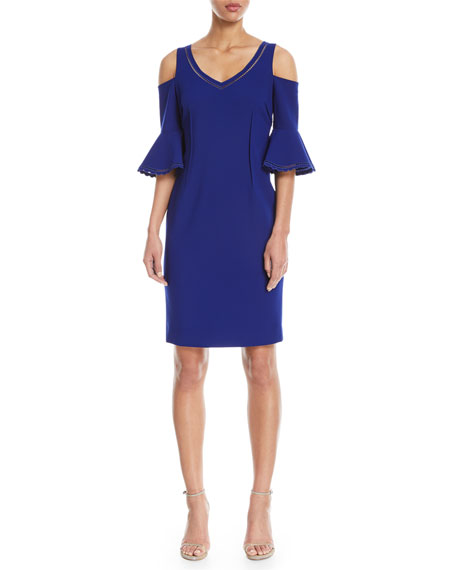 Rickie Freeman for Teri Jon V-Neck Cold-Shoulder Cocktail