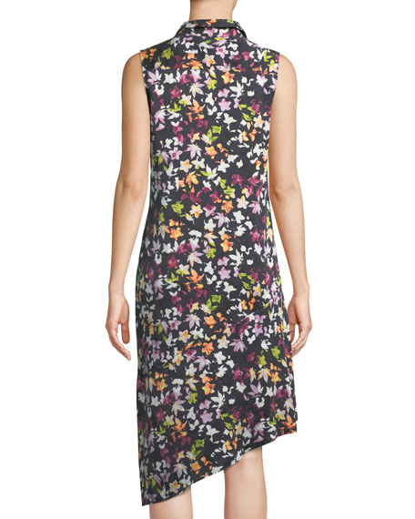 Tira Sleeveless Tiny Floral-Print Silk Dress w/ Asymmetric Hem