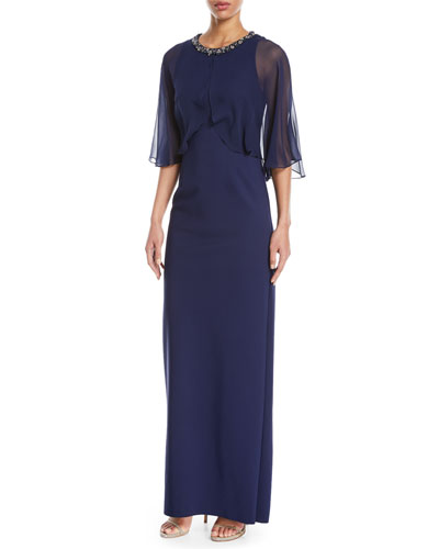 Sheer Capelet Gown w/ Embellished Collar