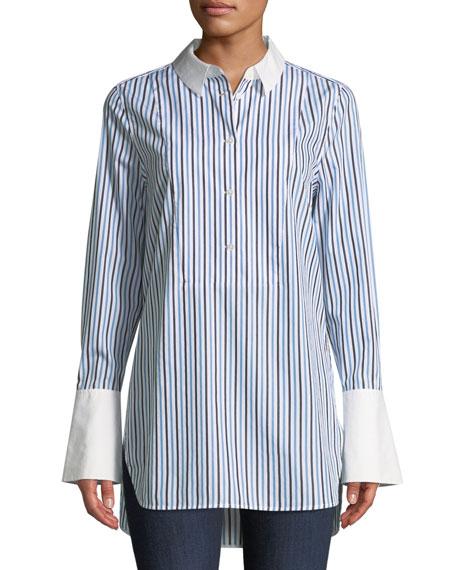 Equipment Arlette Button-Down Tuxedo Striped Shirt