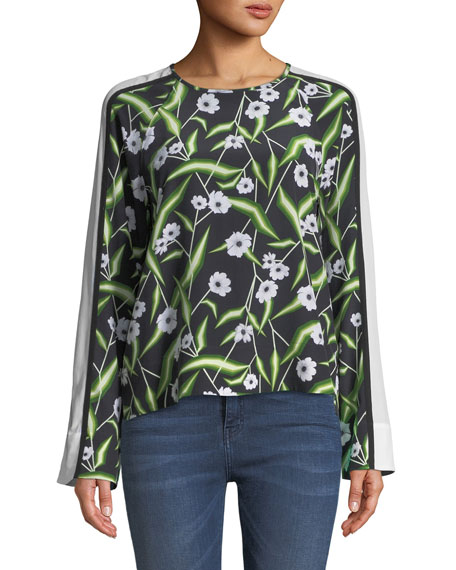 Abilene Floral-Print Silk Top with Wide Stripe Sleeve