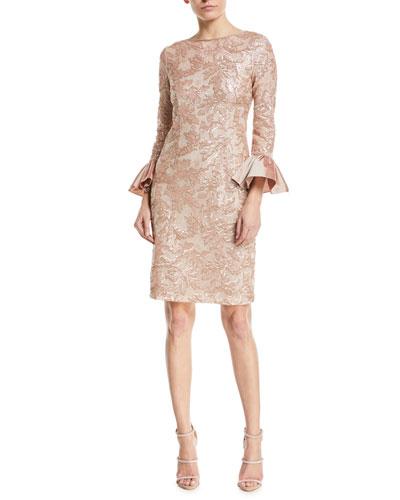 Sequin Taffeta Bell-Cuff Cocktail Dress