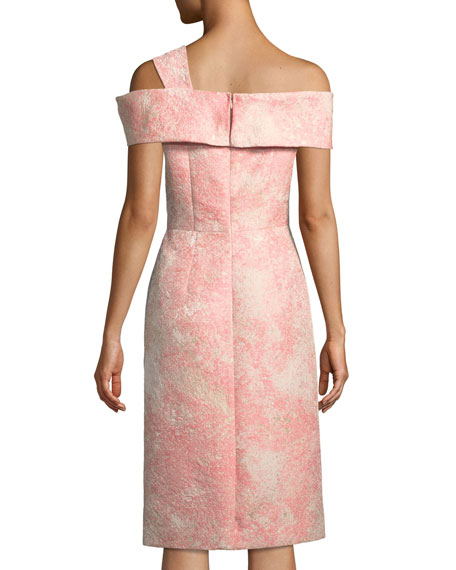 Off-One-Shoulder Jacquard Cocktail Dress