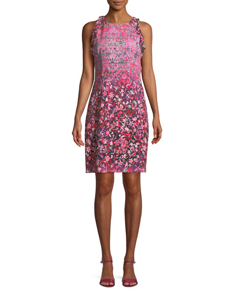 Elie Tahari Carelle Ombr??-Floral Shift Dress