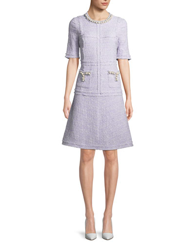 Boucle A-Line Cocktail Dress w/ Pearly Trim