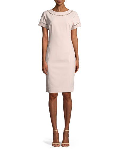 Stretch Crepe Cocktail Dress w/ Pearly Trim