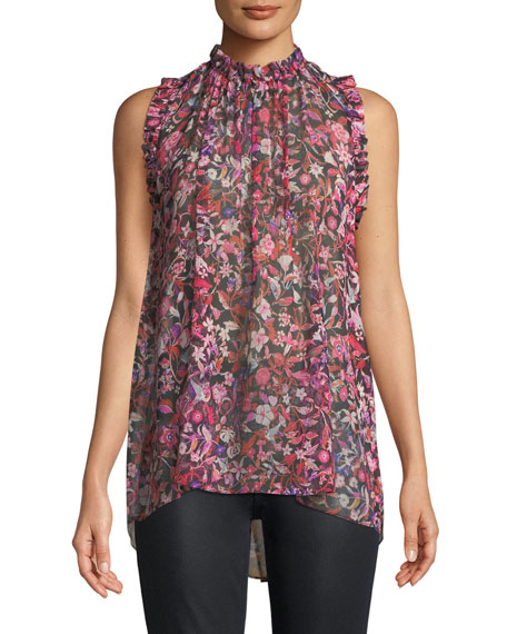 Elie Tahari Lucy Floral-Print Silk Blouse and Matching