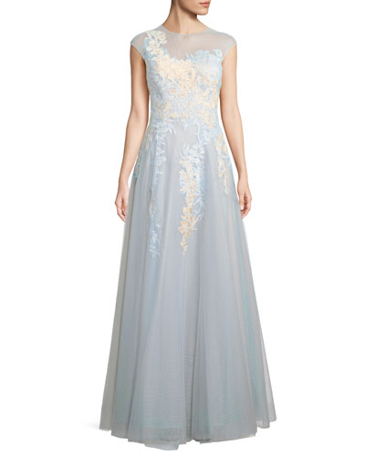 Illusion Short-Sleeve Lace Gown