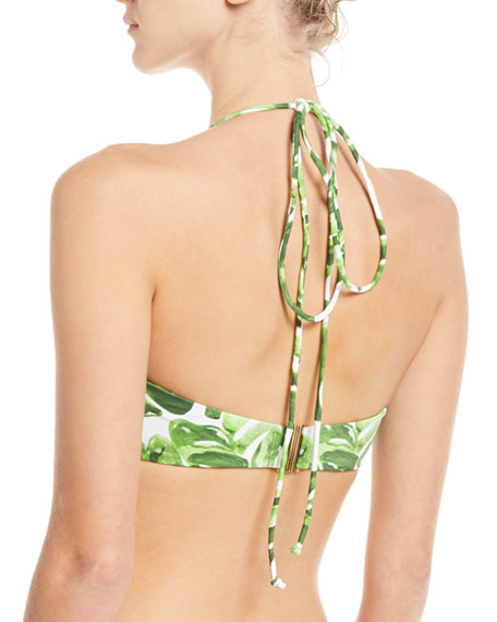 Kali Palm-Print Halter Swim Top